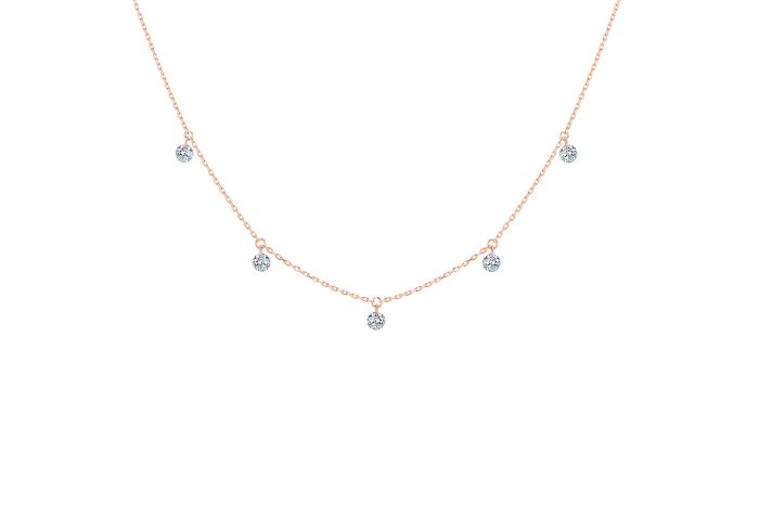 Collier 360 LA BRUNE ET LA BLONDE, 5 diamants, or rose