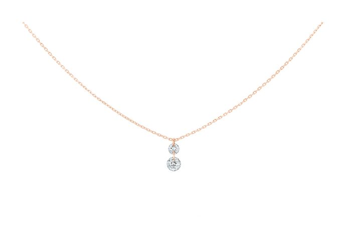 Collier 360 Duo, LA BRUNE ET LA BLONDE, 2 diamants, or rose