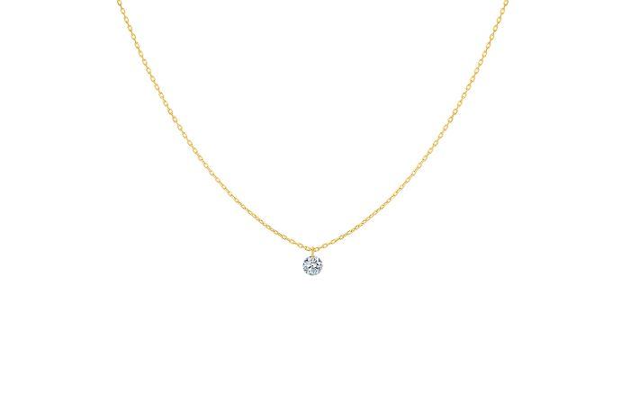 Collier 360 LA BRUNE ET LA BLONDE, diamant solitaire, or jaune