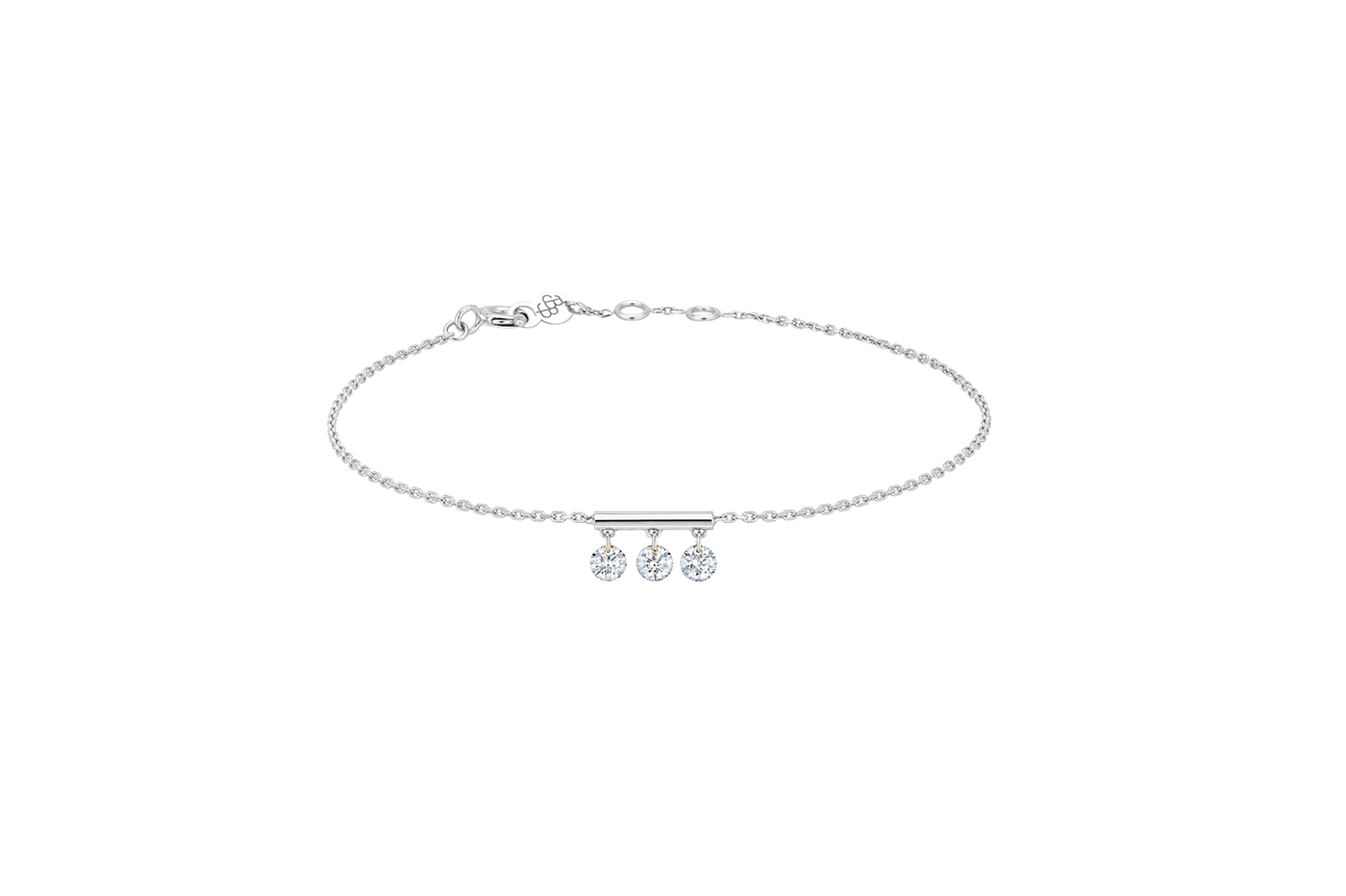 Bracelet Pampilles, 3 diamants, LA BRUNE ET LA BLONDE, or blanc