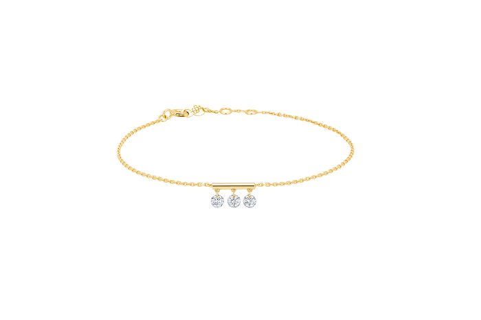 Bracelet Pampilles, 3 diamants, LA BRUNE ET LA BLONDE, or jaune