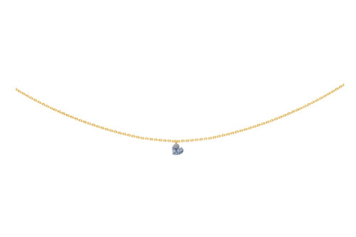 Collier 360, diamant coeur, LA BRUNE ET LA BLONE, or jaune
