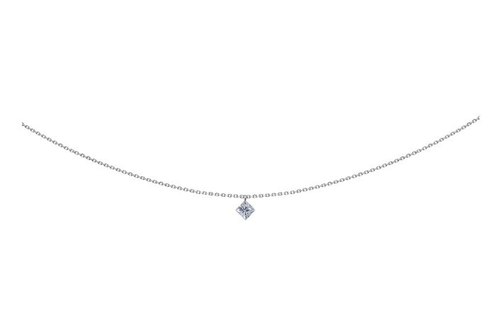 Collier 360, diamant princesse, LA BRUNE ET LA BLONE, or blanc