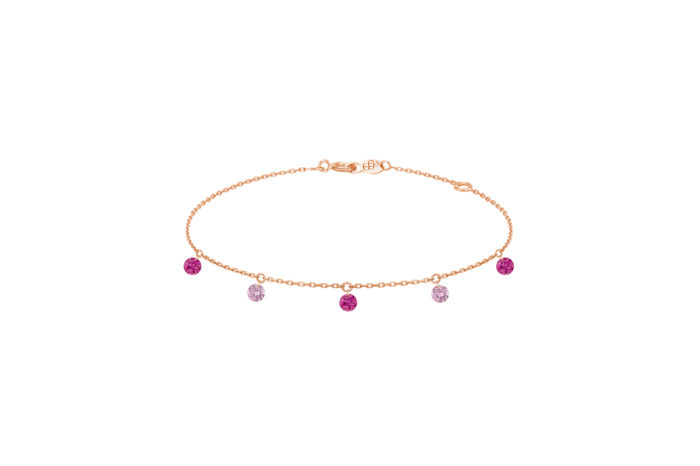 Bracelet CONFETTI ROSE 5 pierres or 18kt
