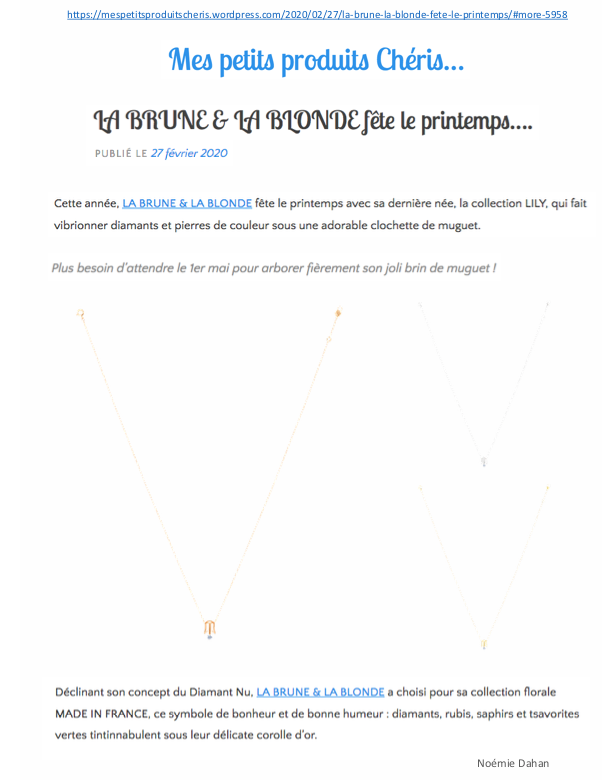 Blog Mespetitsproduitscheris.com X Lily Necklace